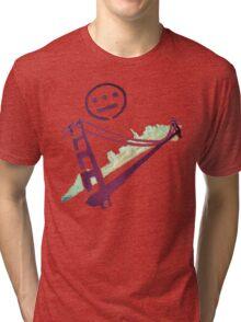 Stencil Golden Gate San Francisco Outline Tri-blend T-Shirt