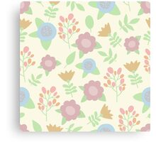 Elegant seamless pattern with pastel flowers hand drawn Canvas Print