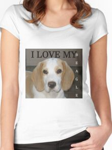 beagle tan white love with picture Women's Fitted Scoop T-Shirt
