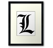 L - death note Framed Print