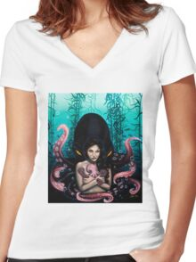 Woman with Baby Octopus and Tentacles Painting Women's Fitted V-Neck T-Shirt