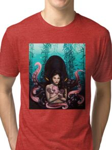 Woman with Baby Octopus and Tentacles Painting Tri-blend T-Shirt