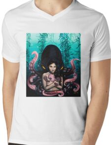 Woman with Baby Octopus and Tentacles Painting Mens V-Neck T-Shirt