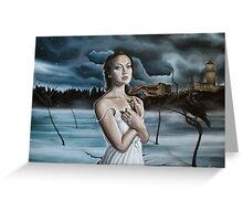 Girl in Frozen Lake with Ravens Greeting Card