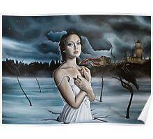 Girl in Frozen Lake with Ravens Poster