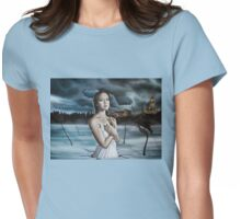 Girl in Frozen Lake with Ravens Womens Fitted T-Shirt
