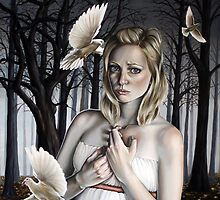 Girl with Doves in Forest by plantiebee