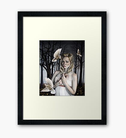 Girl with Doves in Forest Framed Print