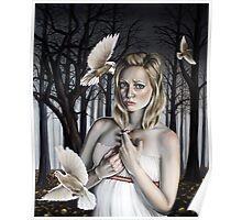 Girl with Doves in Forest Poster
