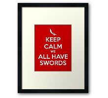 KEEP CALM - We All Have Swords // Aladdin Framed Print