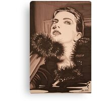 Lady In Fur -  Sepia Canvas Print