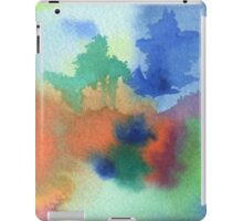 Hand-Painted Abstract Watercolor in Blue Orange Green Red iPad Case/Skin