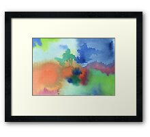 Hand-Painted Abstract Watercolor in Blue Orange Green Red Framed Print