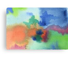 Hand-Painted Abstract Watercolor in Blue Orange Green Red Canvas Print