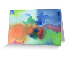 Hand-Painted Abstract Watercolor in Blue Orange Green Red Greeting Card