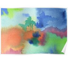 Hand-Painted Abstract Watercolor in Blue Orange Green Red Poster
