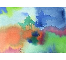 Hand-Painted Abstract Watercolor in Blue Orange Green Red Photographic Print