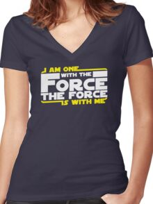 I am One With The Forc The Force Is With Me Women's Fitted V-Neck T-Shirt