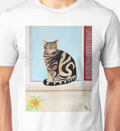Cat sitting on window sill Unisex T-Shirt