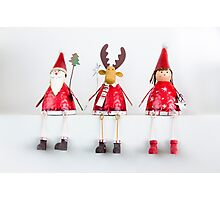 Christmas Santa, Reindeer and Fairy Ornaments Photographic Print
