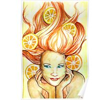 Girl With Oranges Poster