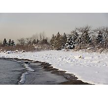The Snow Just Stopped - a Winter Beach on Lake Ontario Photographic Print
