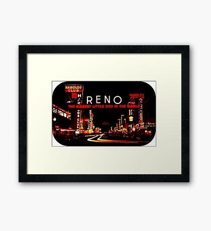 Reno Nevada Sign Vintage Travel Decal Framed Print