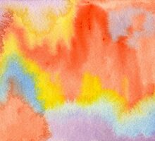 Hand-Painted Abstract Watercolor Sunset in the Rain by Beverly Claire Kaiya