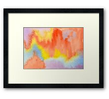Hand-Painted Abstract Watercolor Sunset in the Rain Framed Print