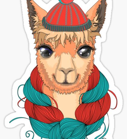 Lama in a knitted hat. Vector illustration.  Sticker
