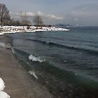 Waterfront Winter - Waves, Snow and Skyline by Georgia Mizuleva