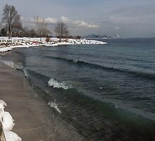 Waterfront Winter - Waves, Snow and Skyline by Georgia Mizuleva