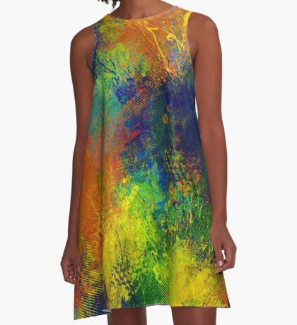 Abstract paint splatters A-Line Dress