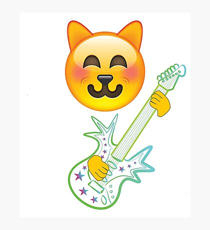 Funny Cat Emoji Playing Guitar Photographic Print