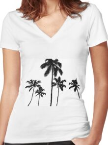 Tropical palms in monochrome Women's Fitted V-Neck T-Shirt