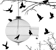 Birds silhouettes and bird cage by Richard Laschon
