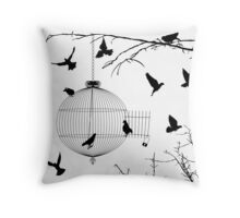 Birds silhouettes and bird cage Throw Pillow