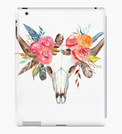 Cow skull watercolor flowers  iPad Case/Skin