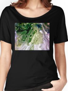 Warp abstract Painting Green White Purple Women's Relaxed Fit T-Shirt