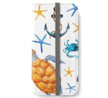 Watercolor turtle crab starfish nautical beach iPhone Wallet/Case/Skin