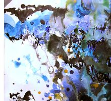 Hail Blue Storm Abstract Painting by 7RayedDesigns