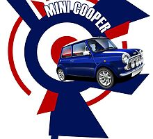 Classic Mini Cooper Illustrated T-shirt by RJWautographics