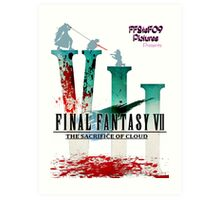 Final Fantasy VII: The Sacrifice Of Cloud - Numbers and Characters With Blood Art Print