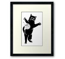 Cat And Yarn Silhouette Framed Print