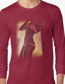 Grunge red bikini detailed silhouette Long Sleeve T-Shirt