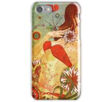 Grunge red bikini girl on floral background iPhone Case/Skin