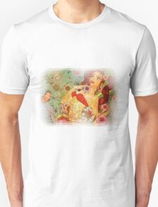 Grunge red bikini girl on floral background Unisex T-Shirt