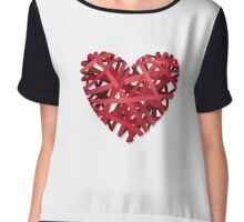 Abstract Red Heart   Chiffon Top