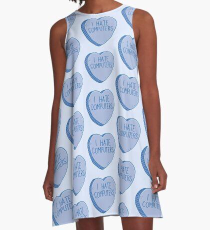 I HATE COMPUTERS heart candy A-Line Dress