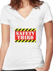 Safety third Women's Fitted V-Neck T-Shirt